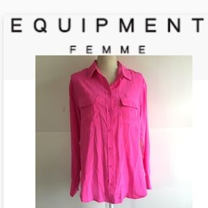 EQUIPMENT FEMME SILK BLOUSE TOP BUTTON UP MEDIUM